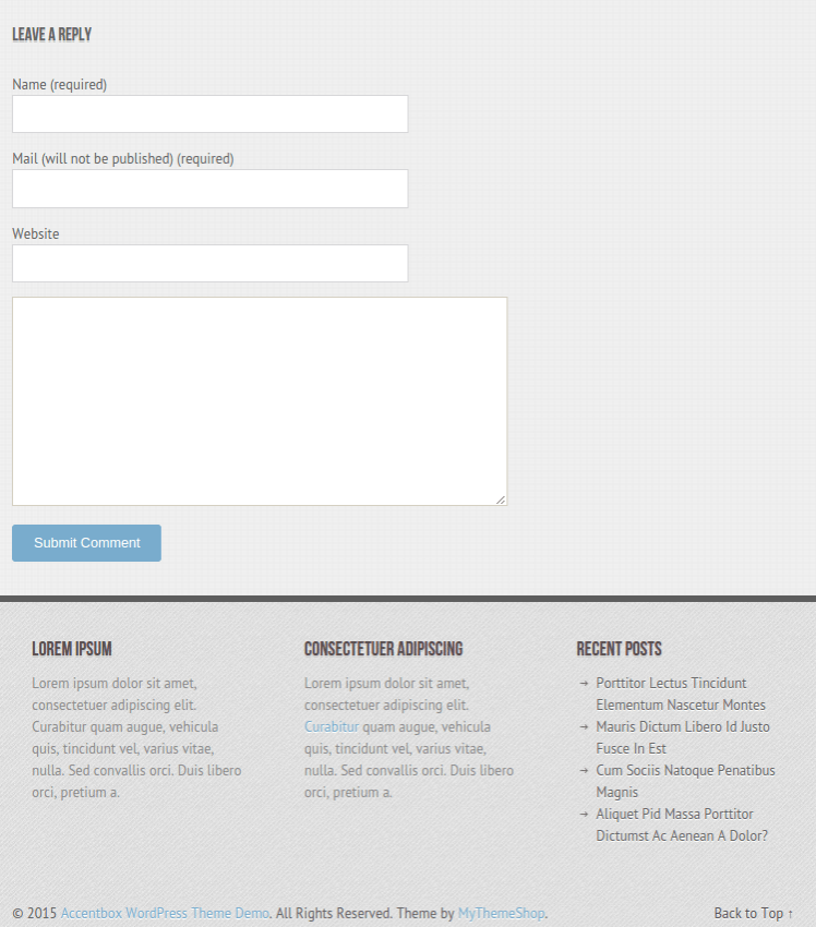 AccentBox WordPress theme with responsive layout