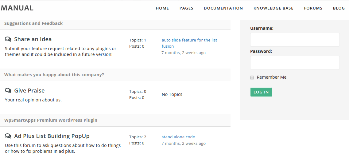Forum page of Manual