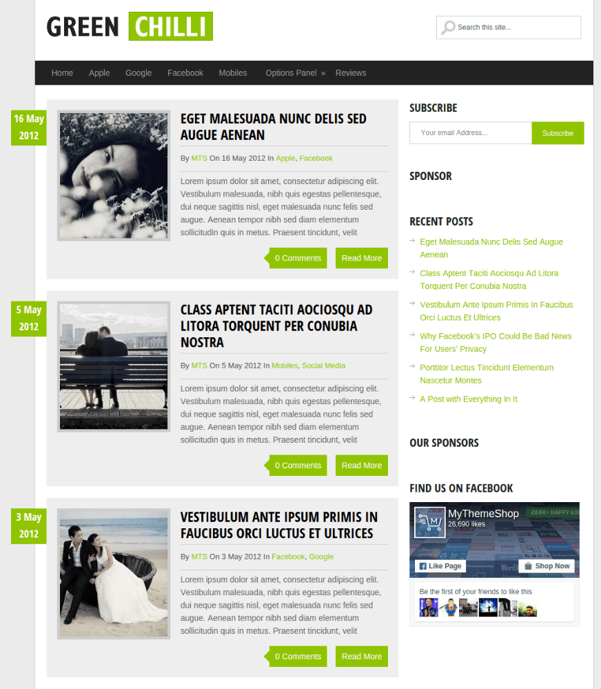 Front Page of Greenchilli theme