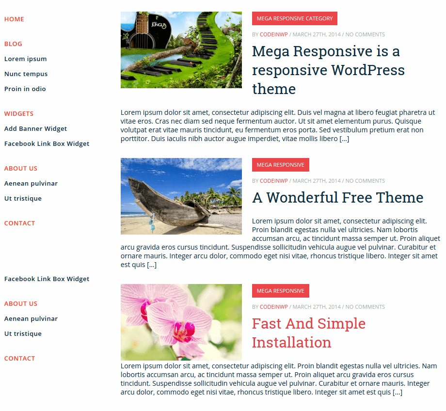 Front Page of MegaResponsive Lite