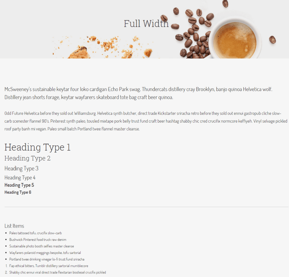 Full width page of Cafe Elements