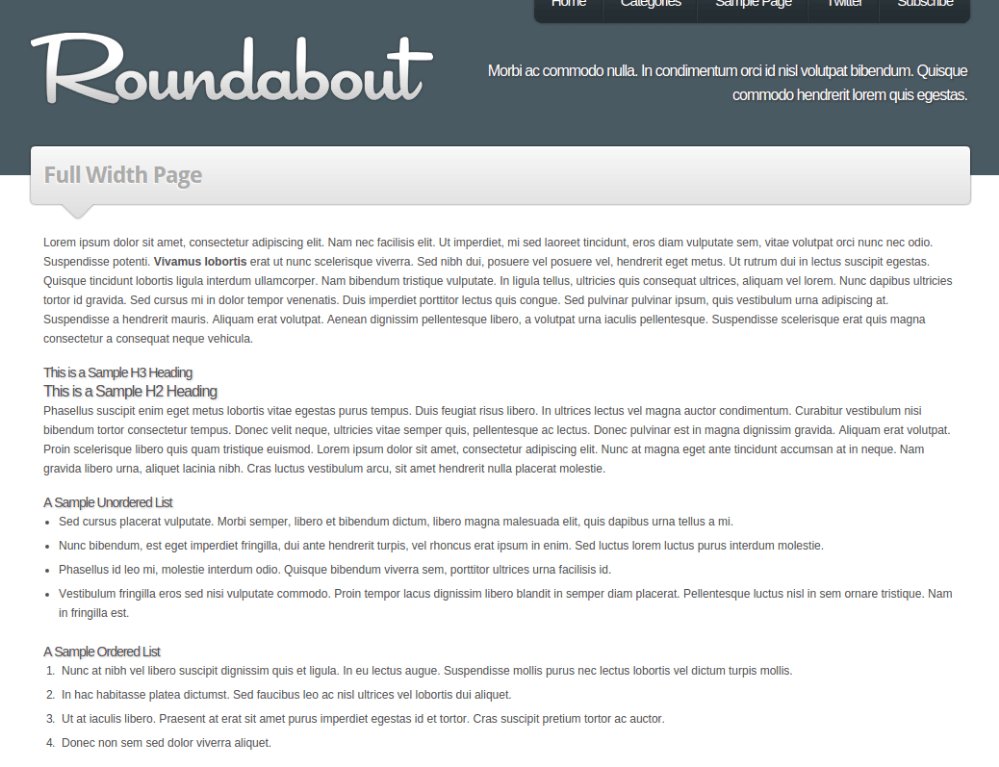 Full width page of Roundabout