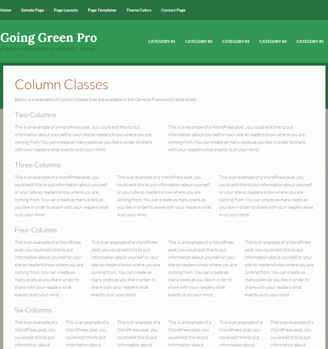 Going Green Pro- Column layout page