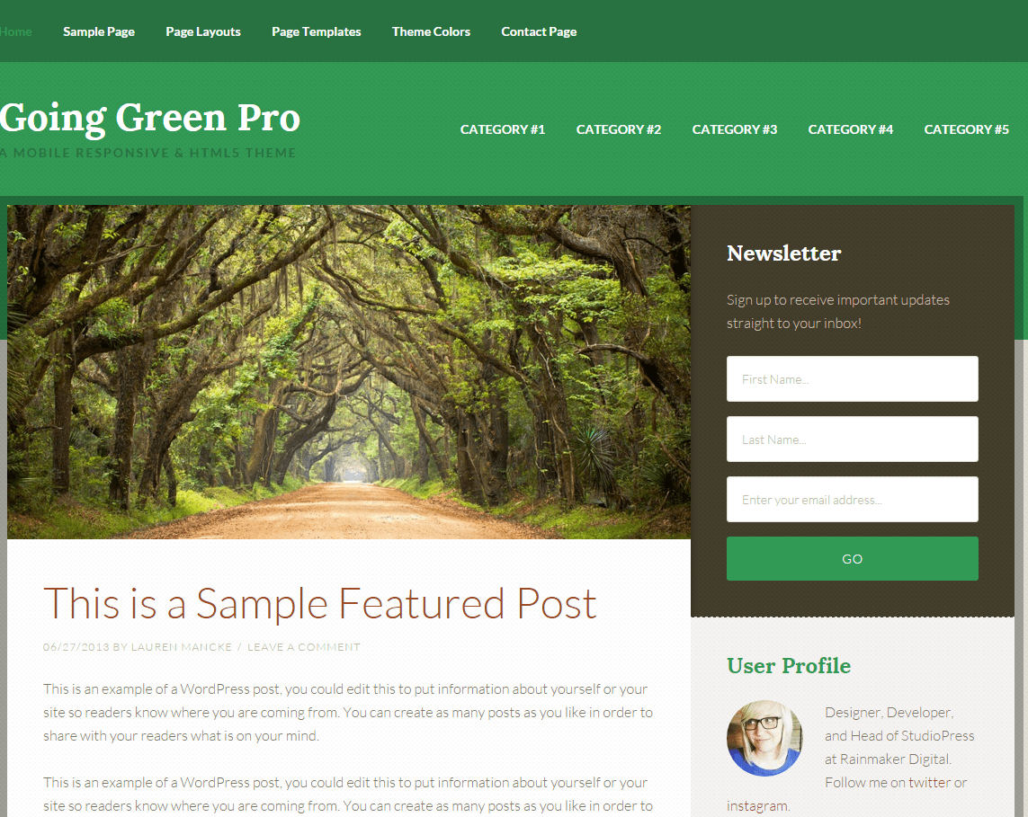 Going Green Pro- Front page built with Content- sidebar layout
