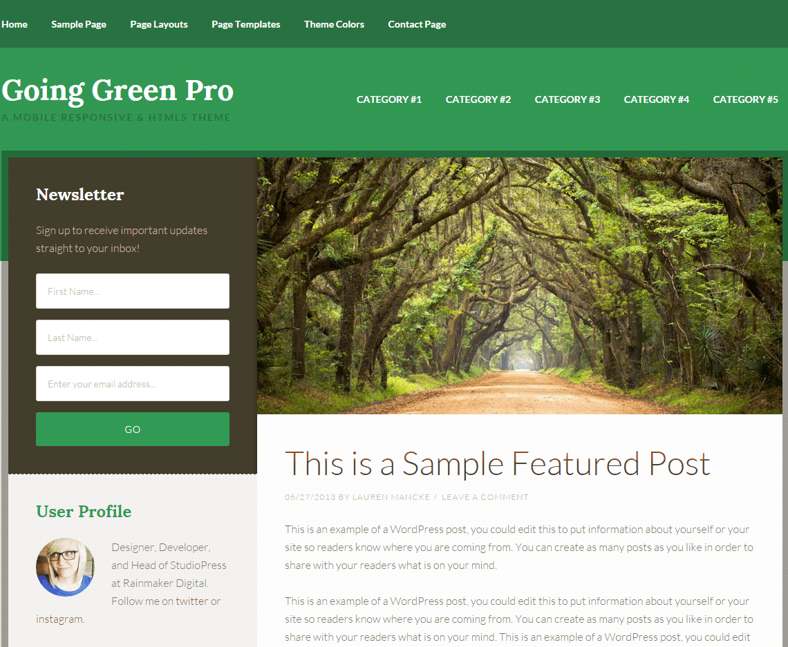 Going Green Pro- Page layout with sidebar-content pattern