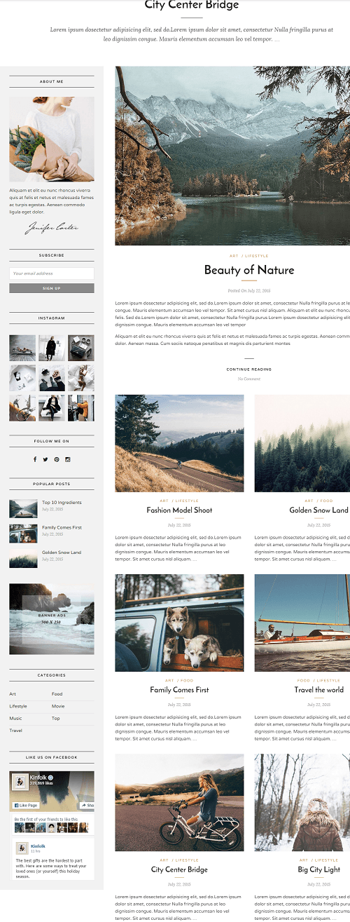 Grand Blog- Front page layout