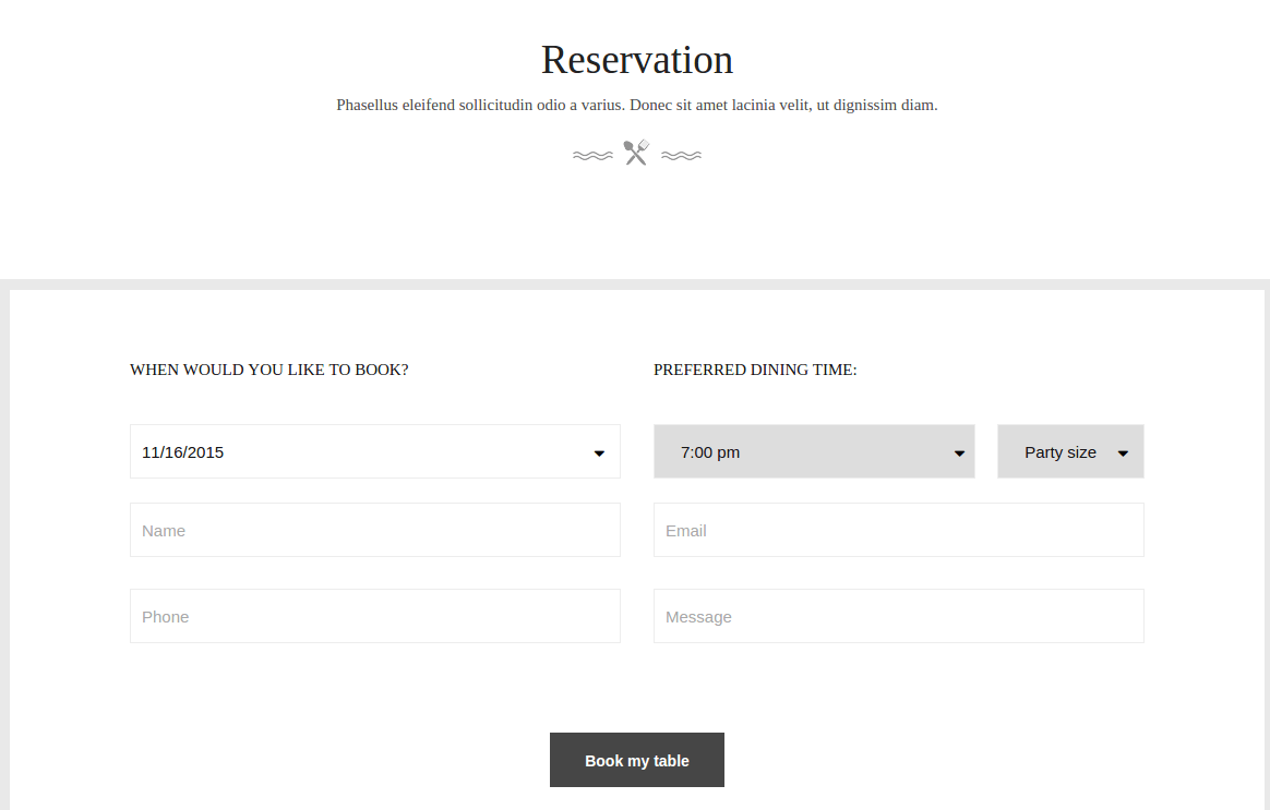 Gusteau Reservation Page