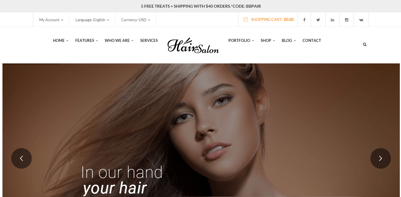 Hair Salon- Front page featured with Revolution slider
