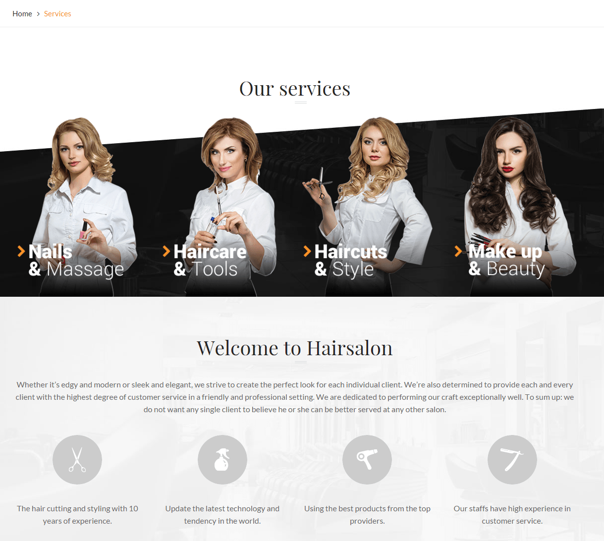 Hair Salon- Services page built with page builder