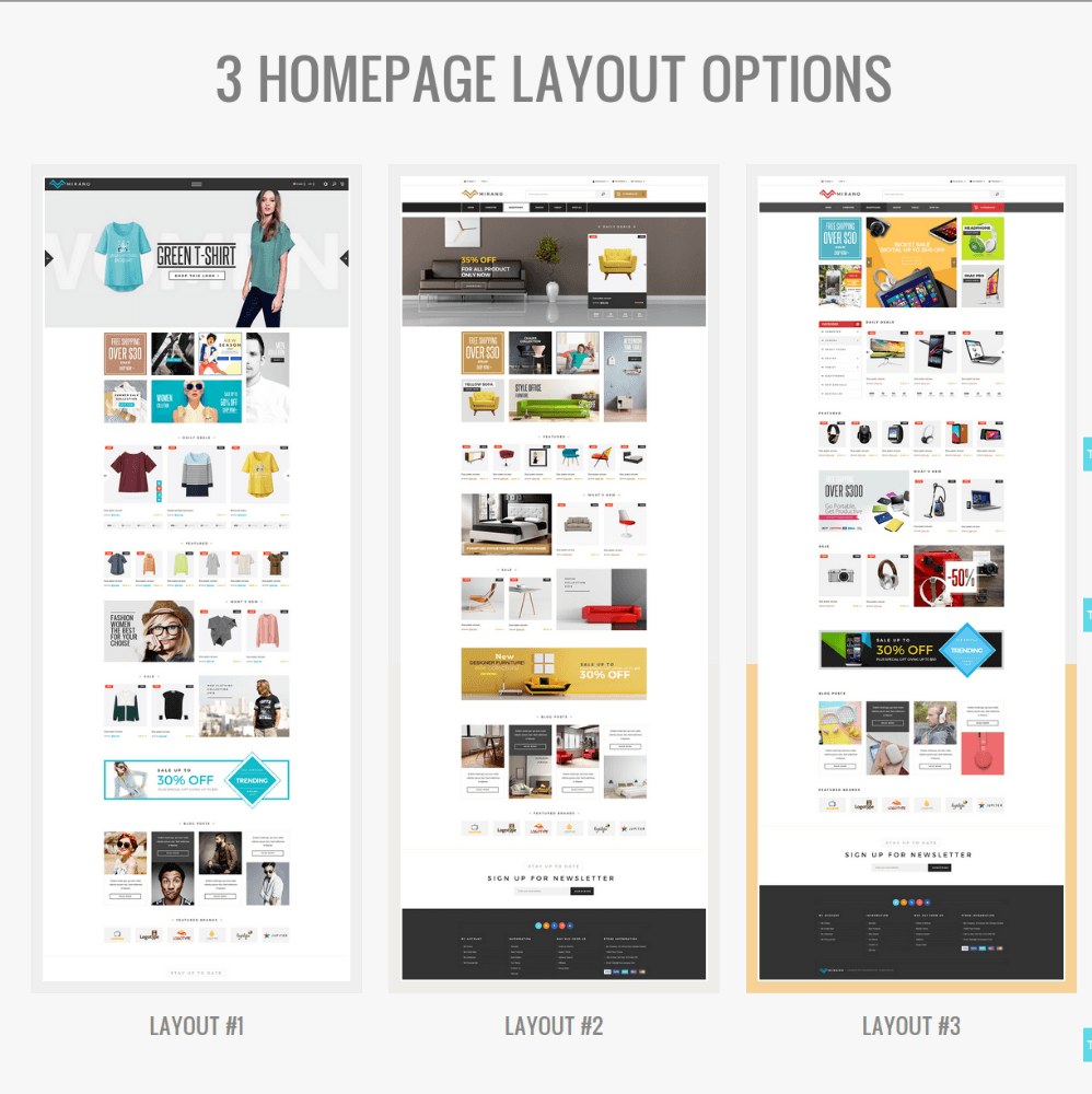 Homepage Layouts of Mirano