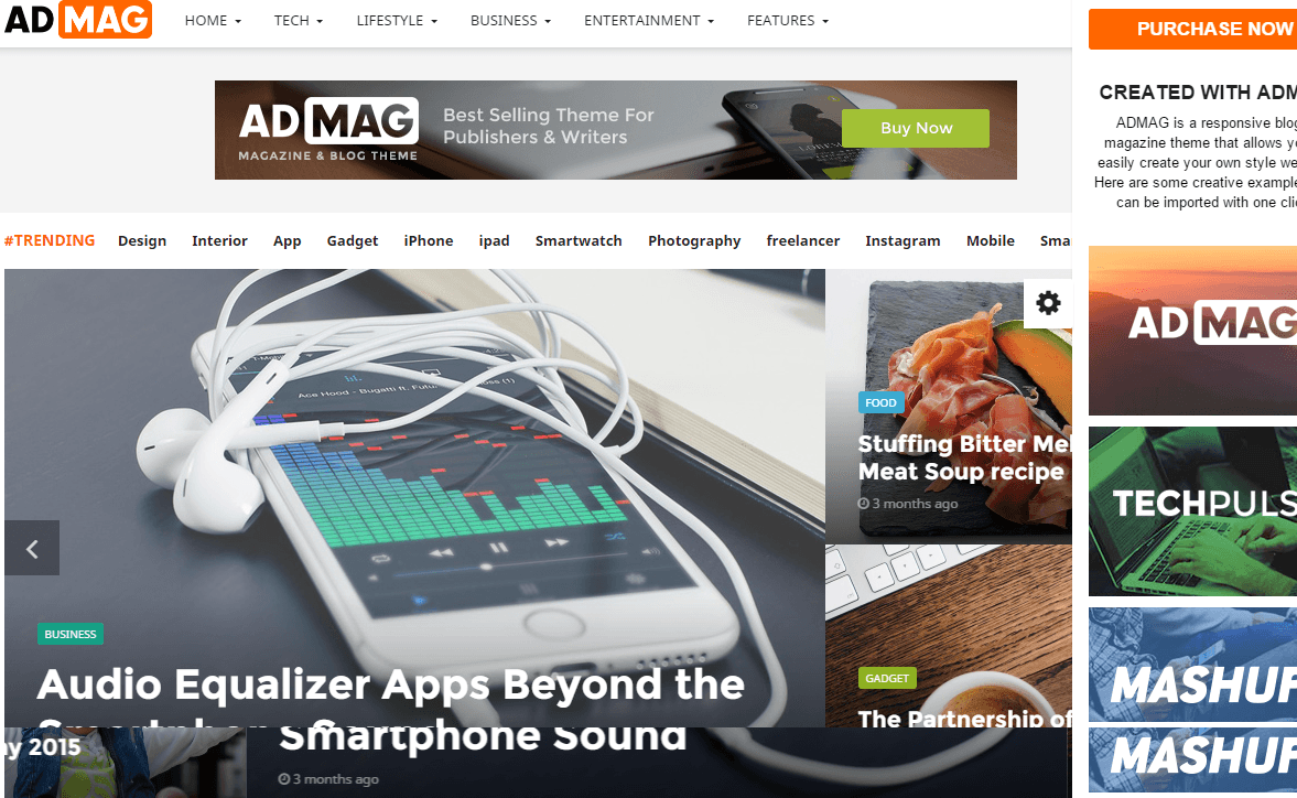 Homepage of ADMAG theme