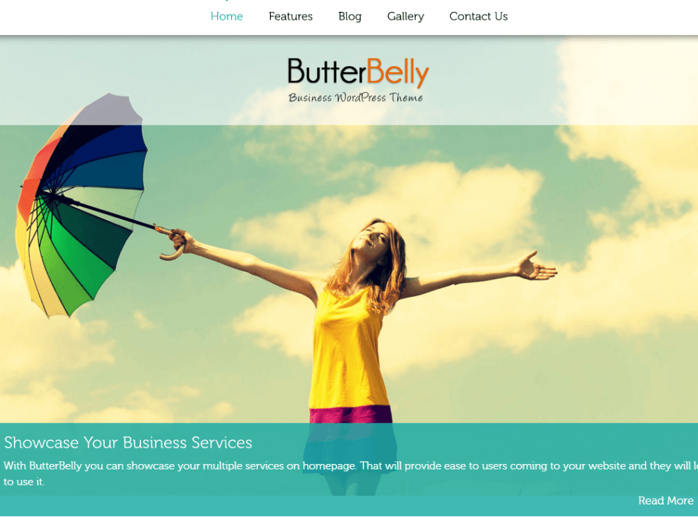 Homepage of ButterBelly theme