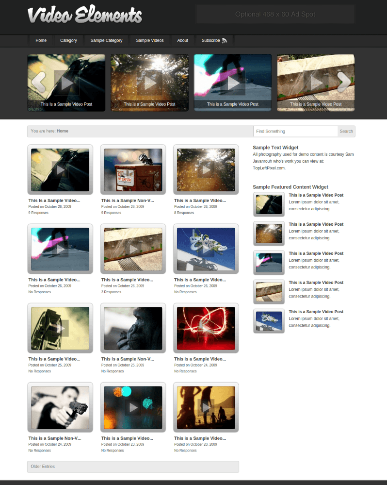 Homepage of Video Element