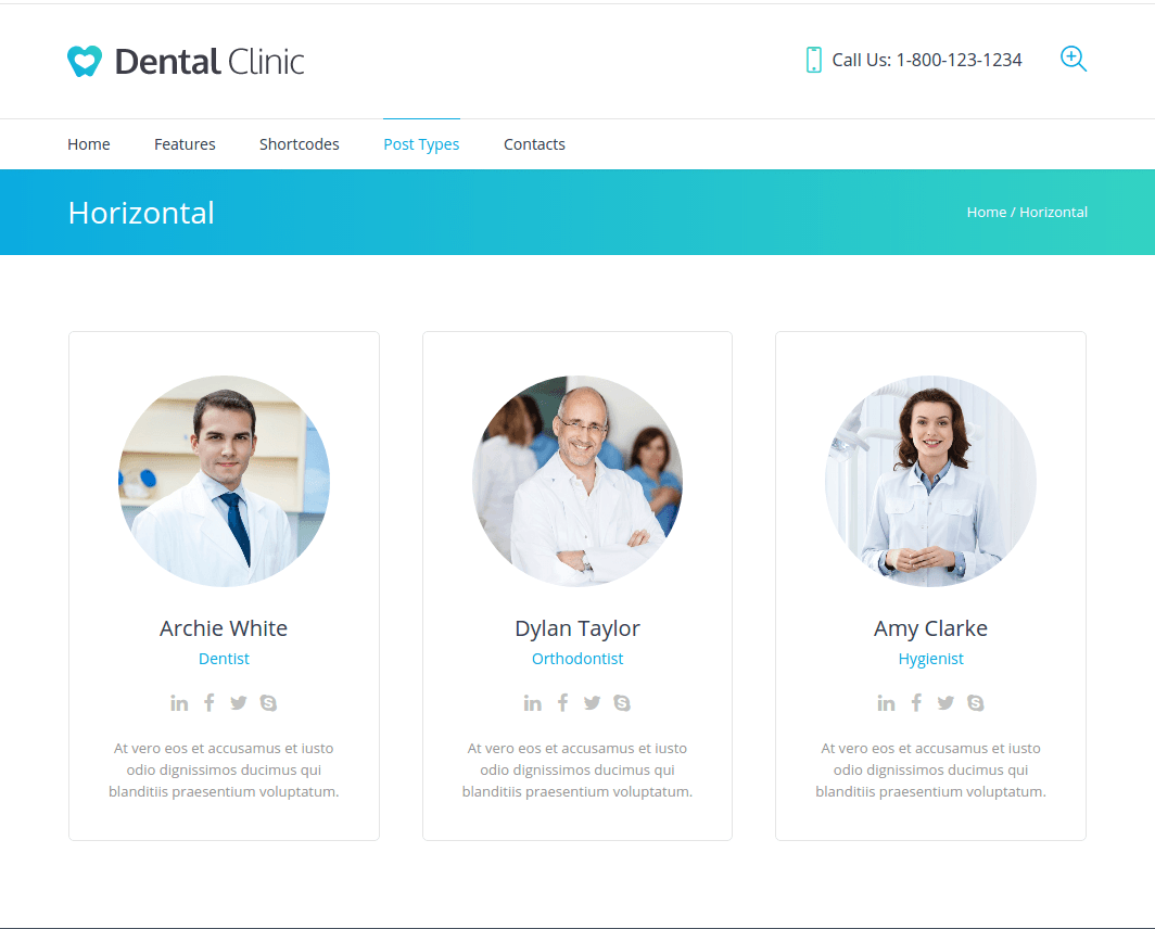 Horizontal Profile Page of Dental Clinic