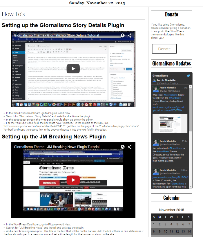 How to set up plugin page of Giornolismo theme
