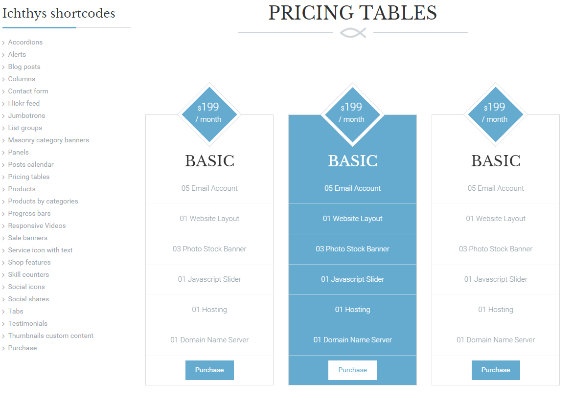 Ichthys- Pricing table by shortcodes