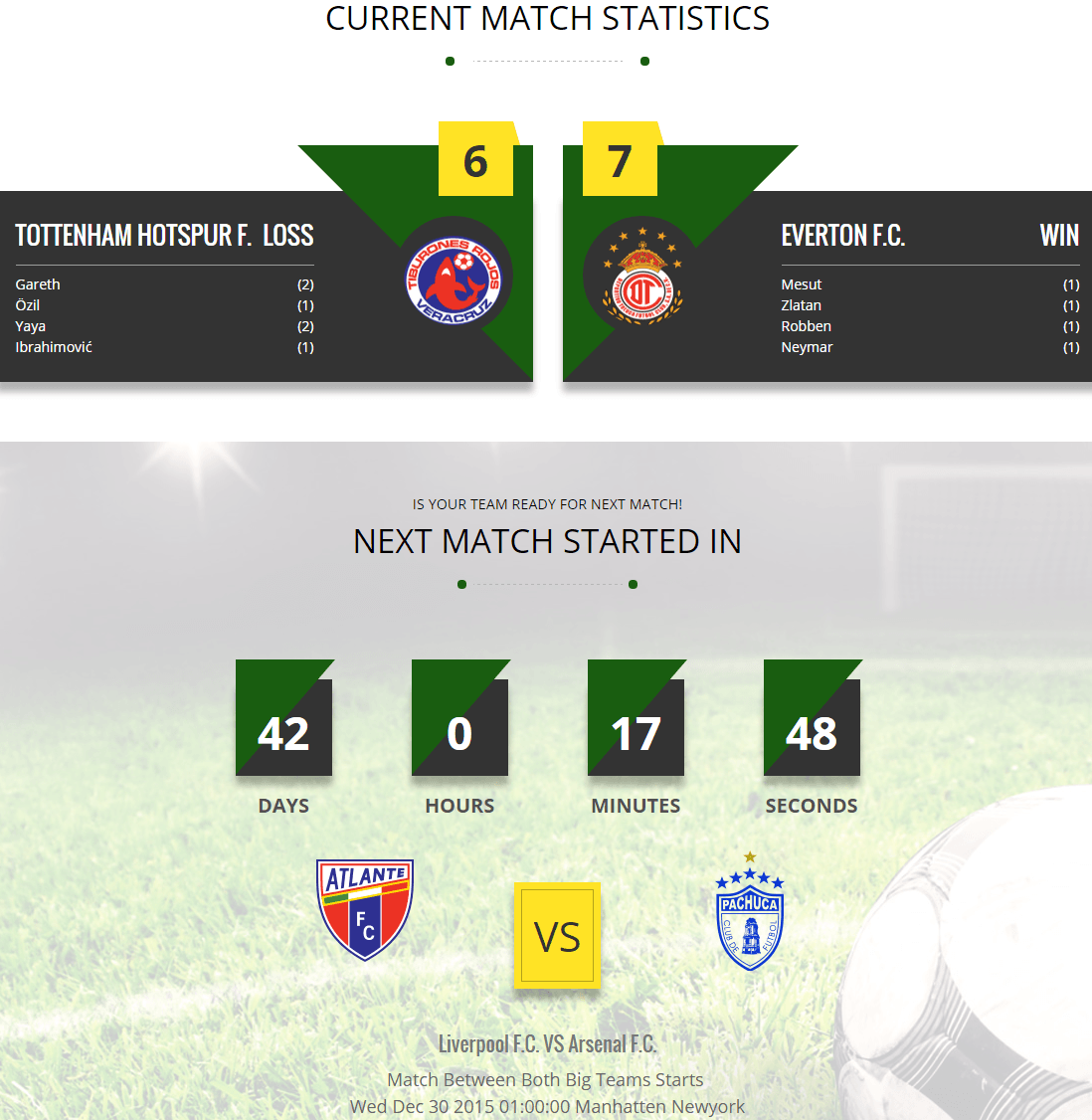 Kickoff- Front page featuring current match stats and upcoming match details