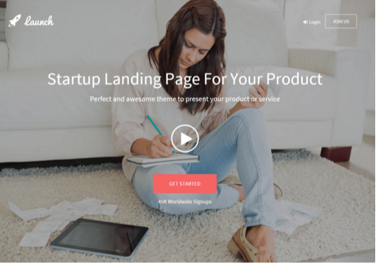 Launch landing page theme