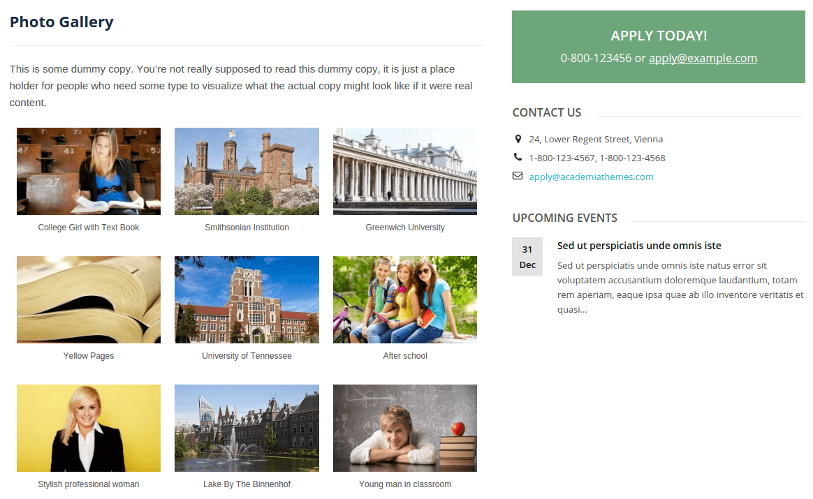 Lectura Lite Photo Gallery Page