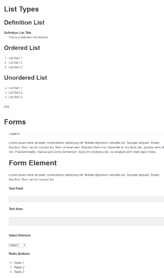 List types and form elements of Bouboneat theme