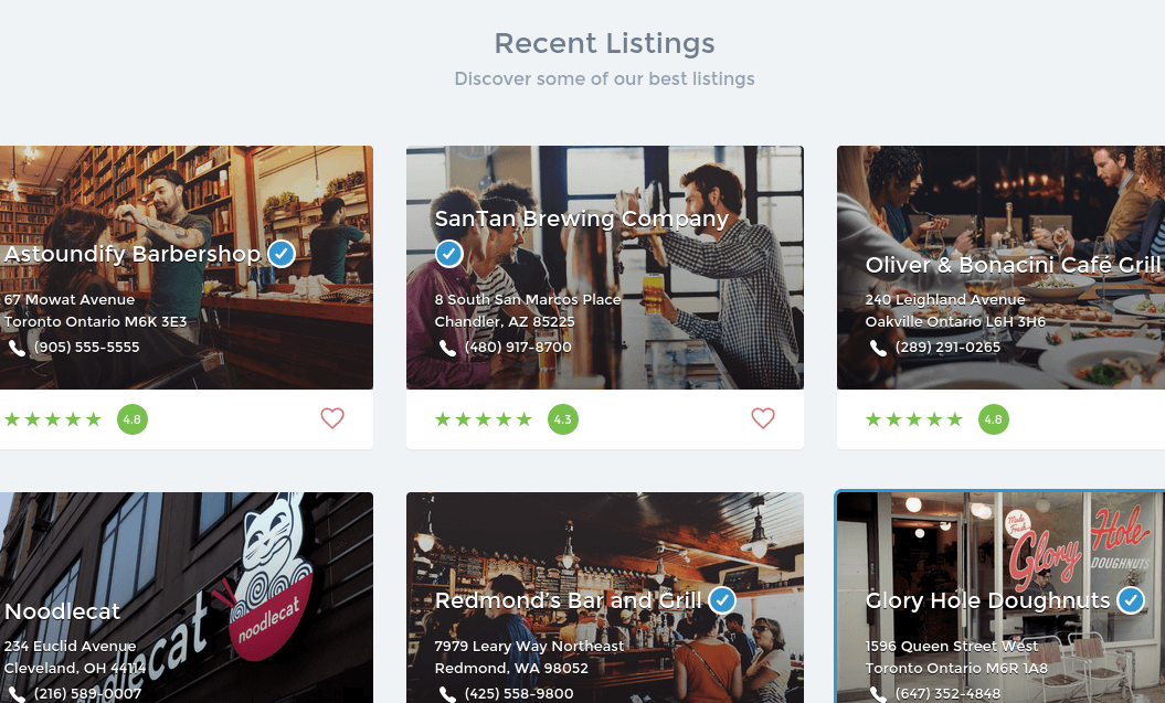 Listify Recent Listings Section