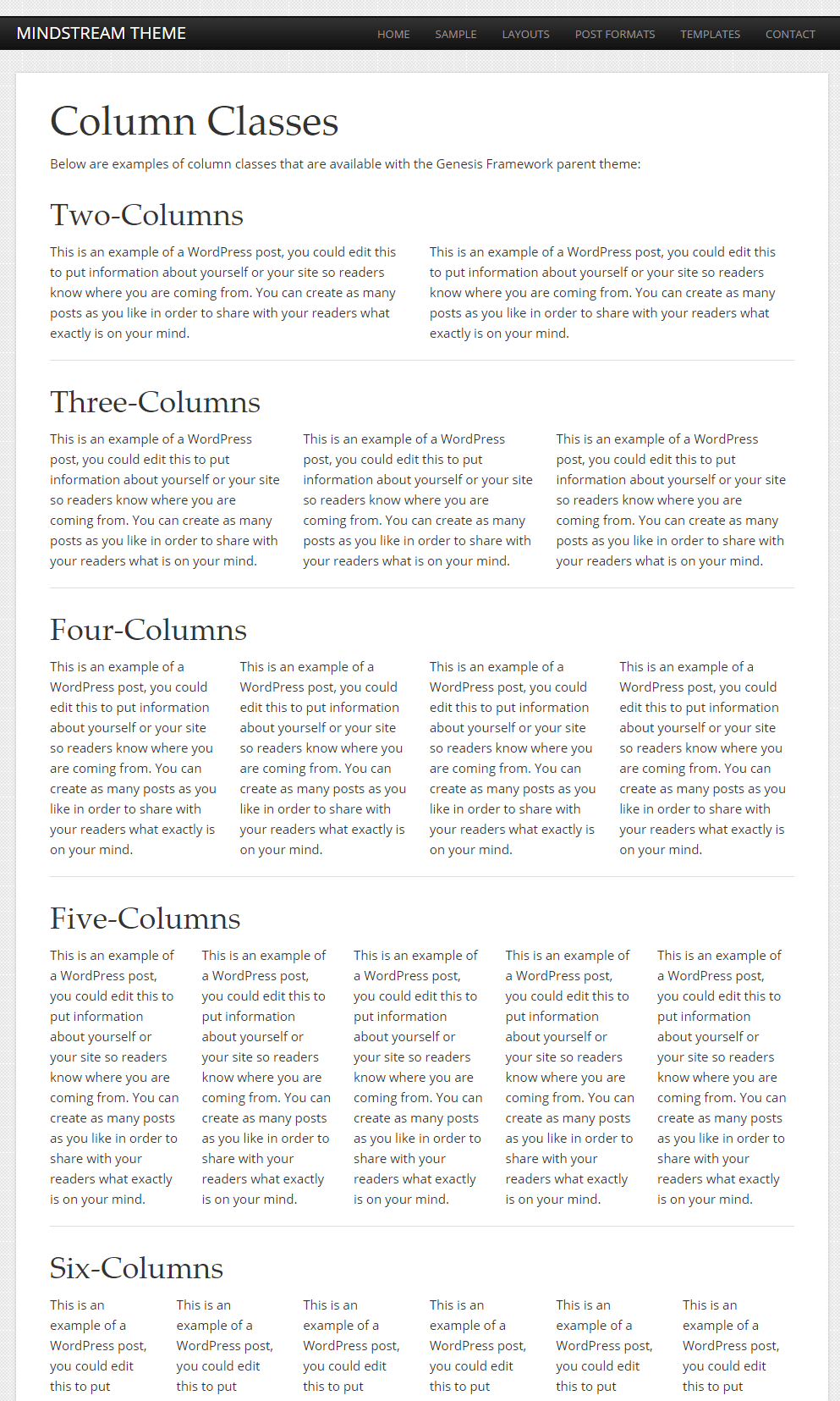 Mindstream- Column page template