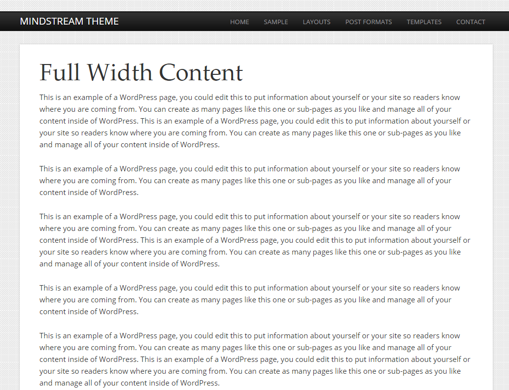 Mindstream- Fullwidth content page layout