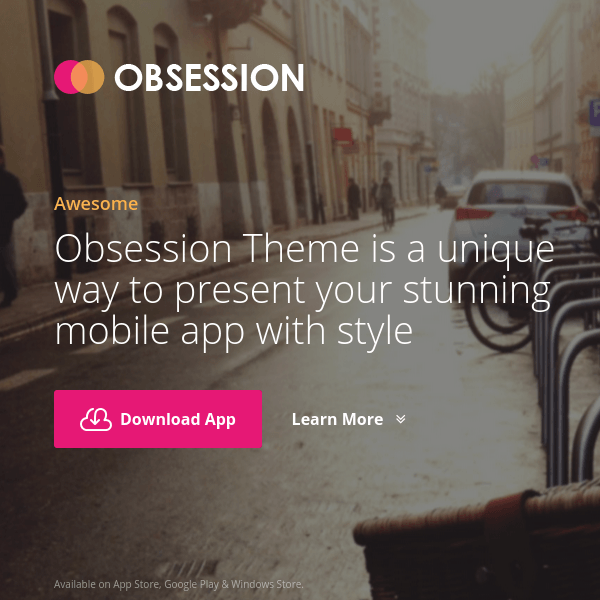 Obsession - Responsive App Landing Page WordPress Theme
