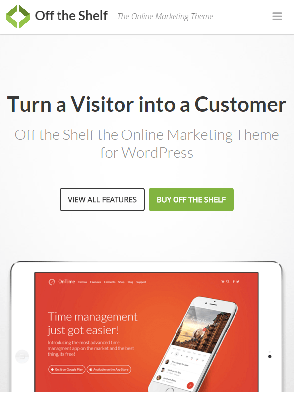 Off The Shelf landing page theme