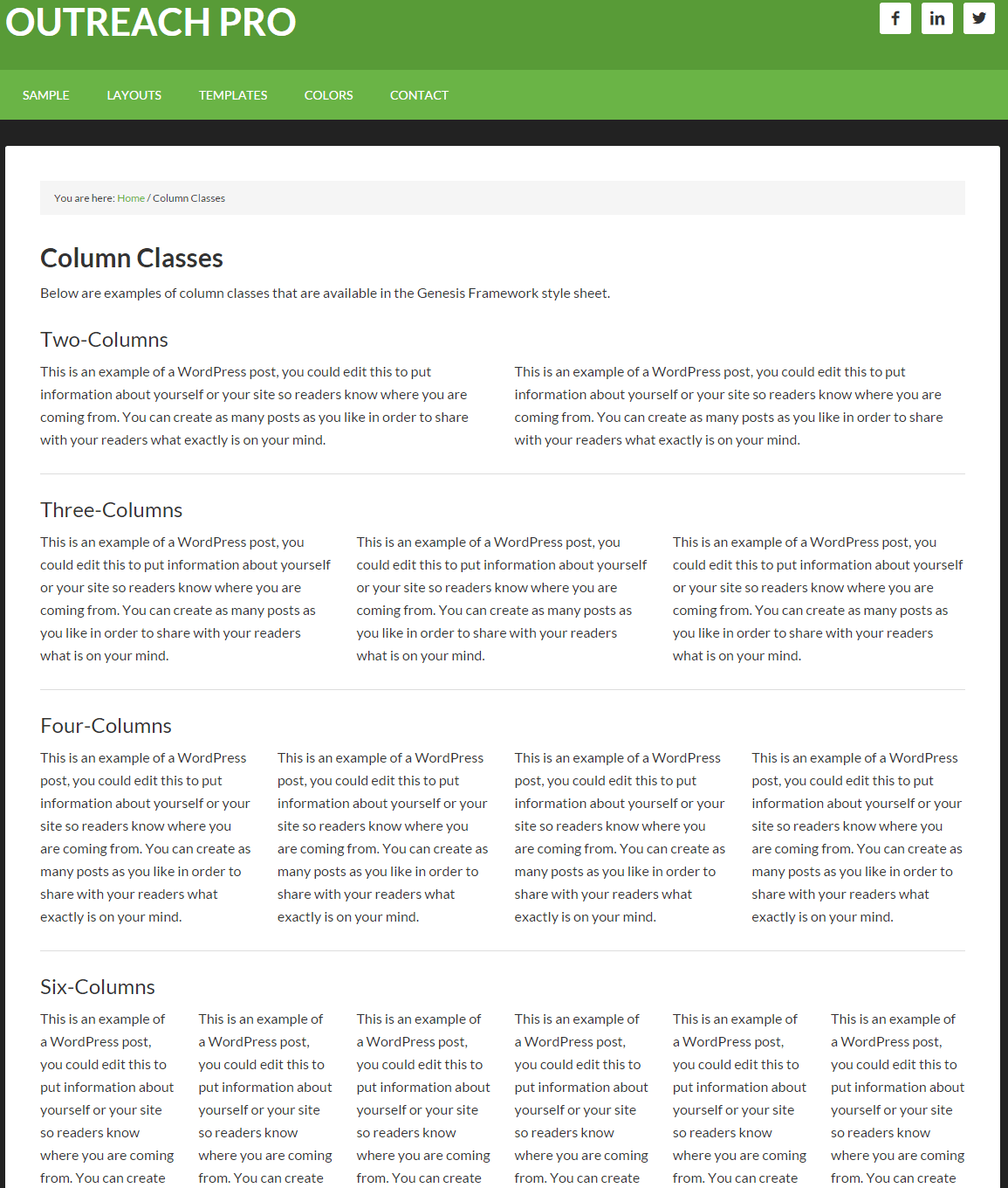 Outreach Pro- Column layout page template