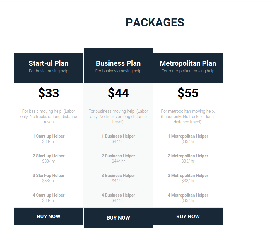 Packages Page of Movatique