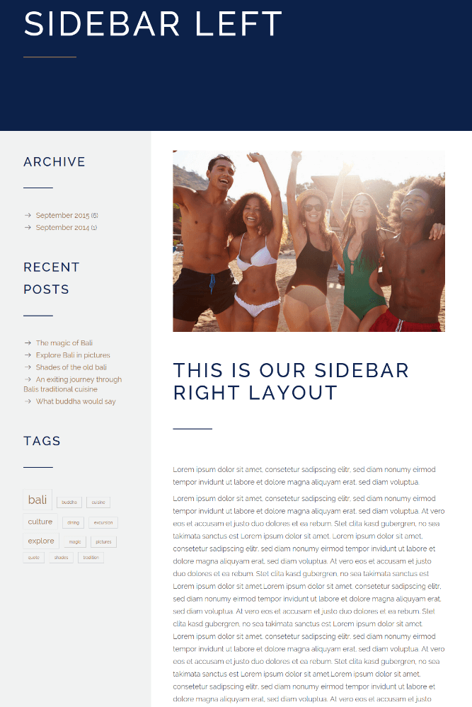 Page with left sidebar of Hotel Calluna