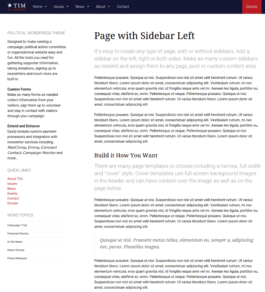 Page with left sidebar of FrontRunner