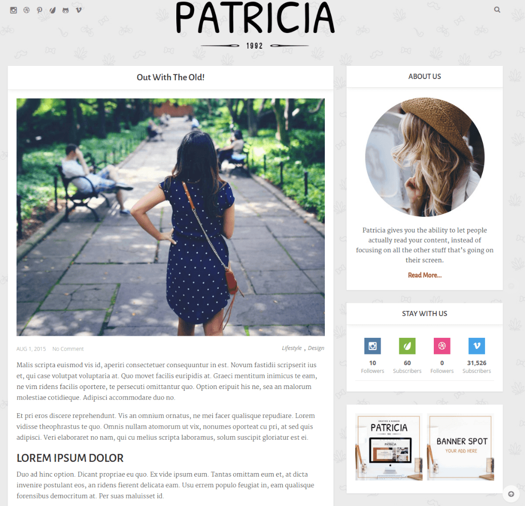 Page with right sidebar of Patricia