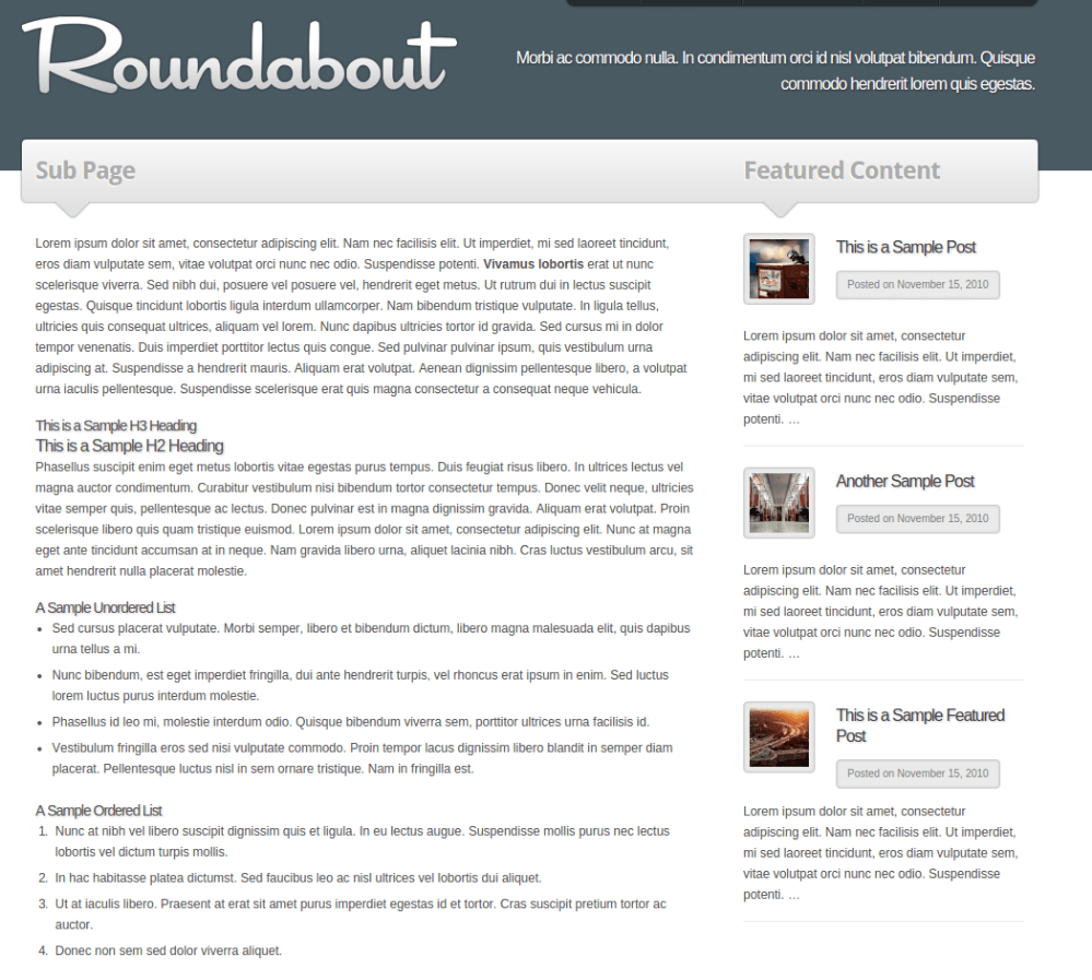 Page with sidebar of Roundabout