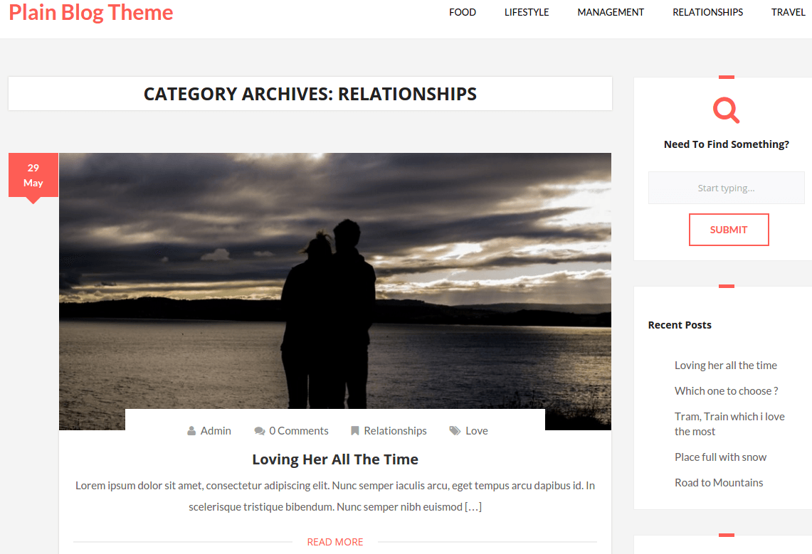 Plain Blog Relationship Page