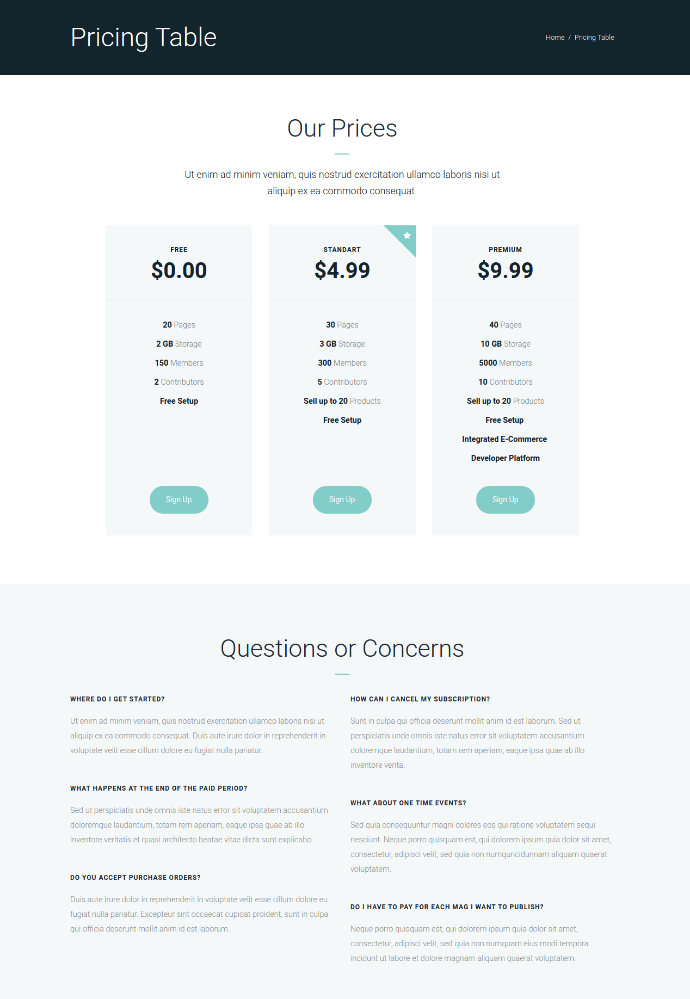 Pricing Page of Ester