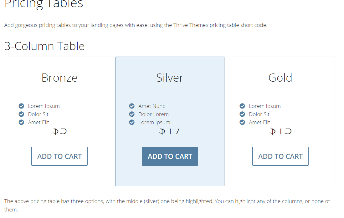 Pricing table shortcode shown by Minus theme