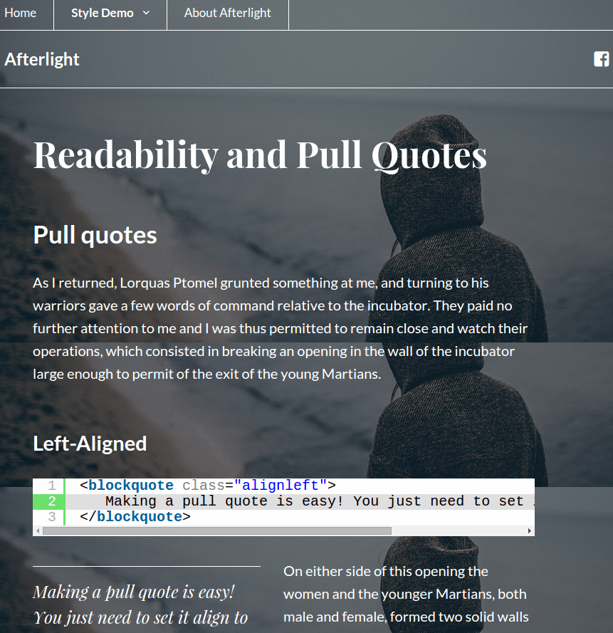 Quotesand text align Afterlight Wordpress