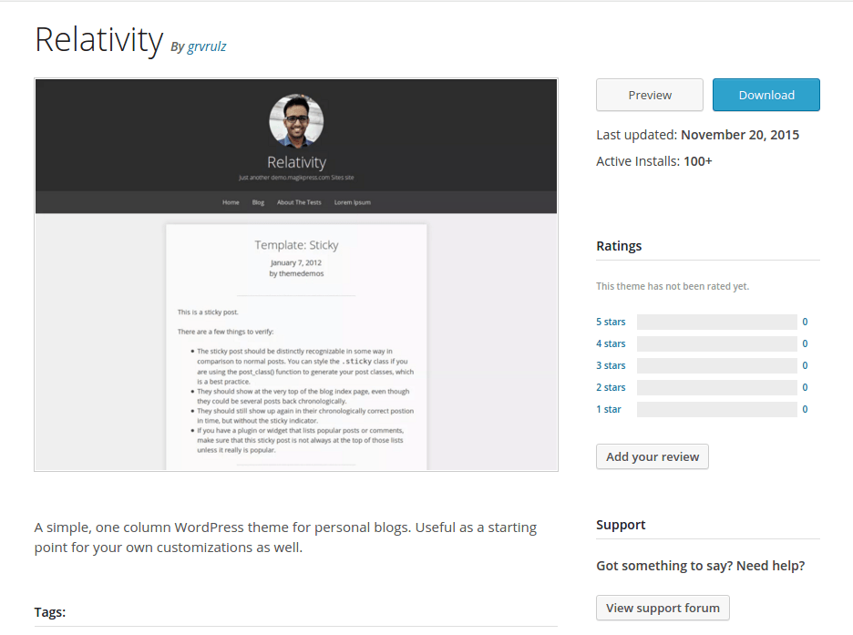 Relativity WordPress Page