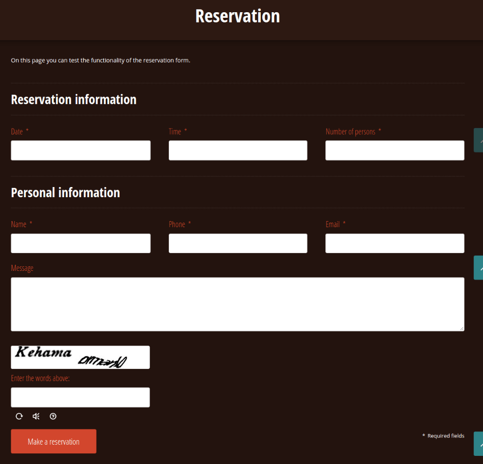 Reservation page of linguini