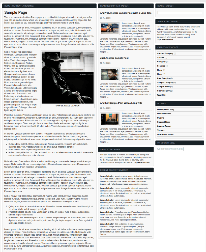 Sample Page of Massive News theme