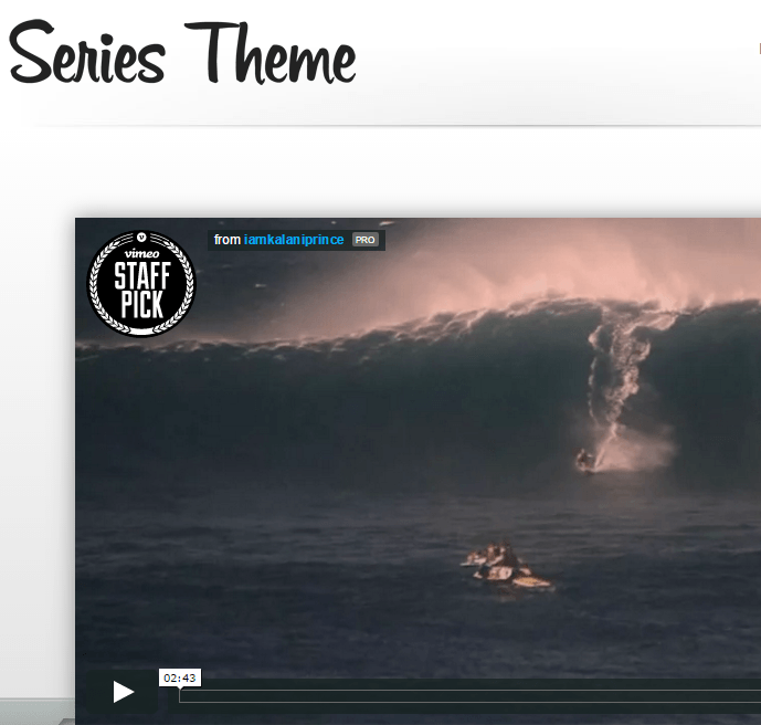Series - WordPress theme used for delivering video series or for creating portfolios
