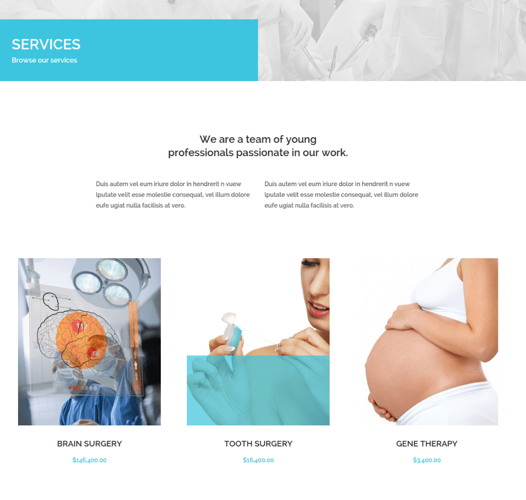 Services Page of Medical