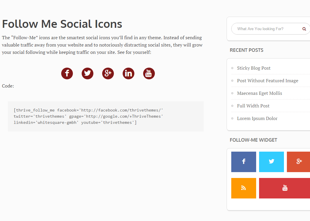 Shortcode for social icons of Luxe theme