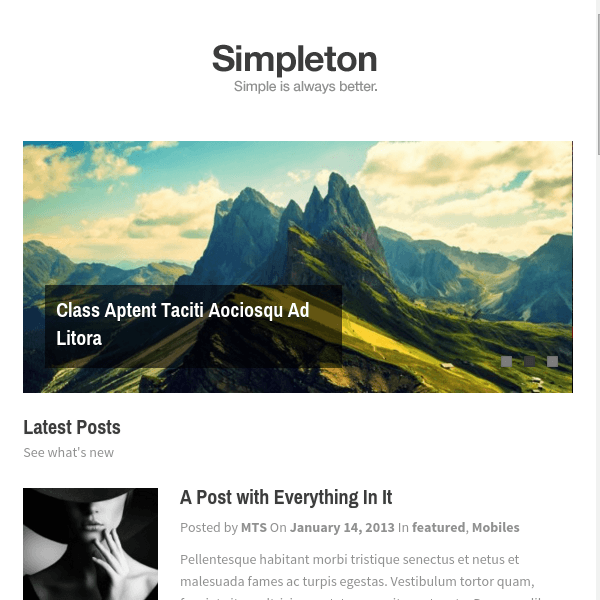 Simpleton Super Clean, Lightweight & Minimalist WordPress Theme