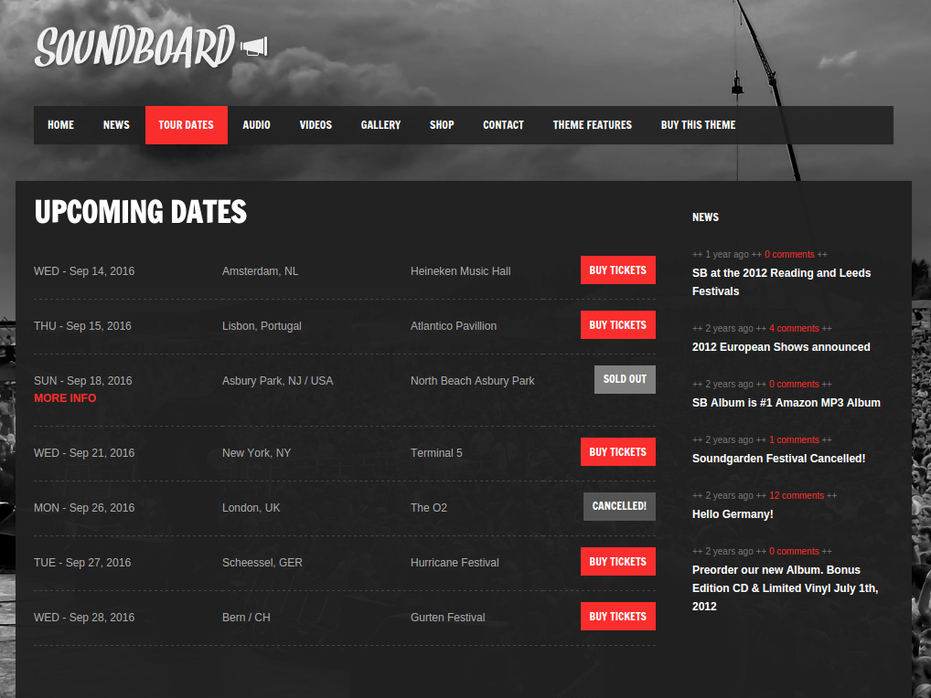Soundboard Tour Dates Page