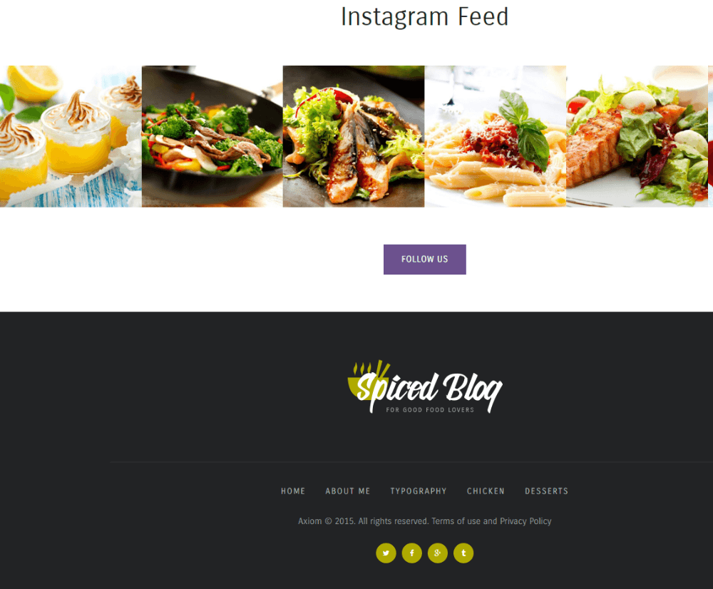 Spiced Blog - Instagram feed and footer