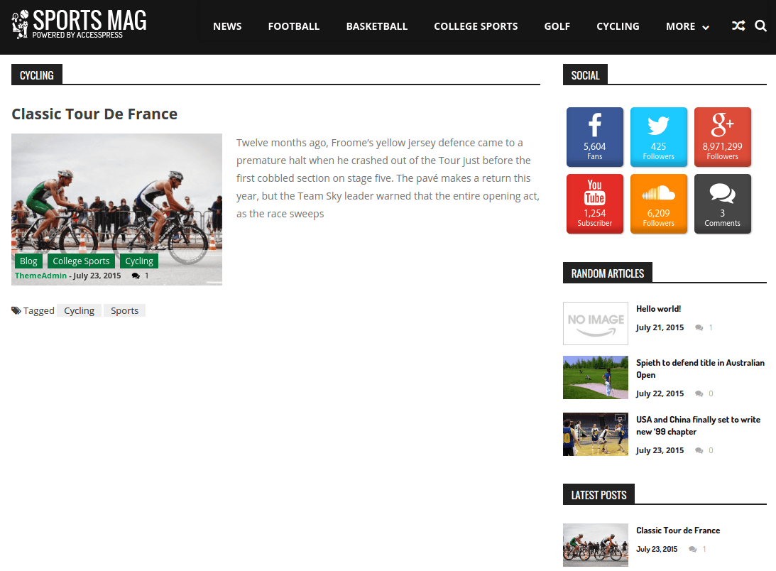 SportsMag Cycling Page