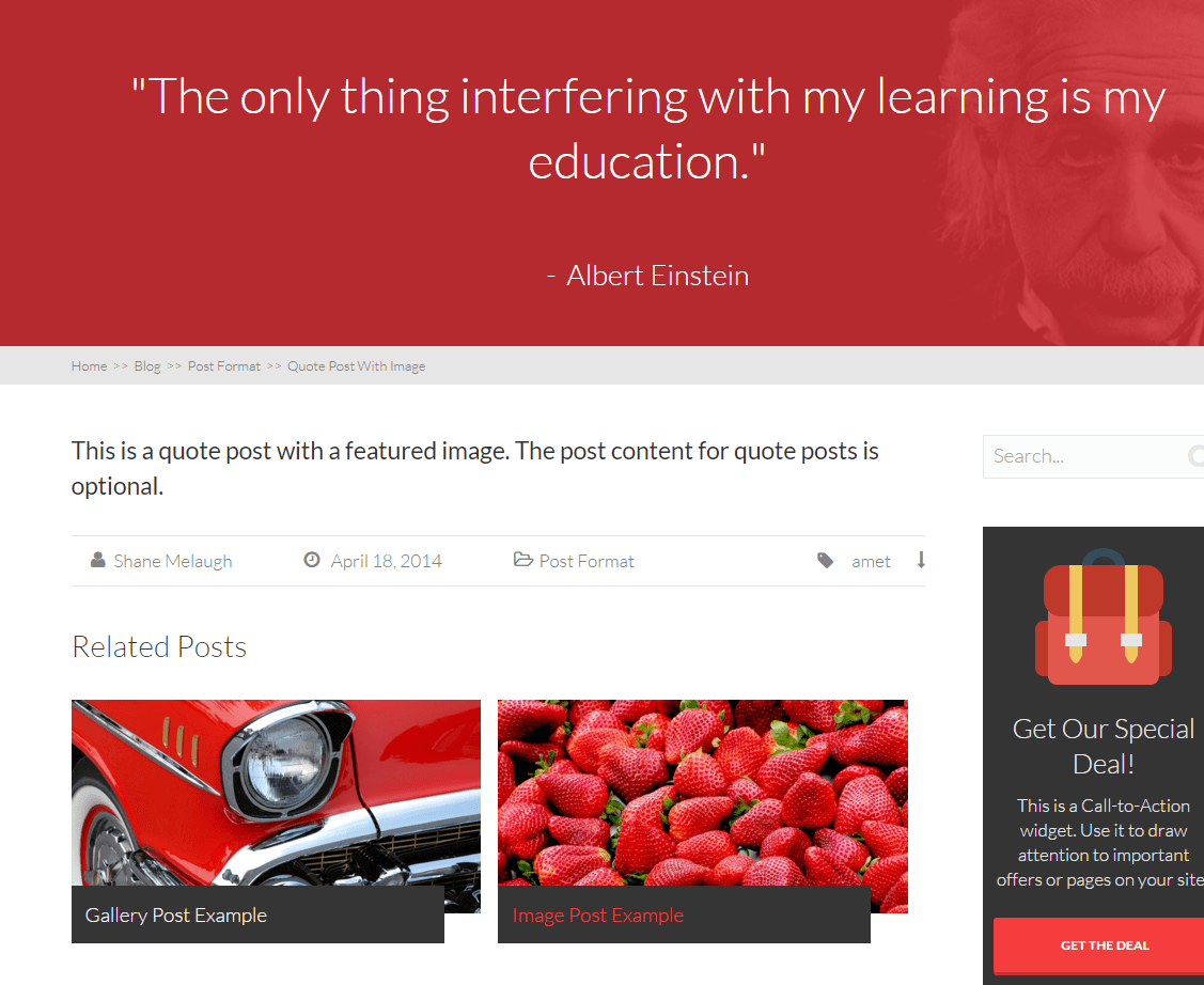 Squared - Blog page with quotes.